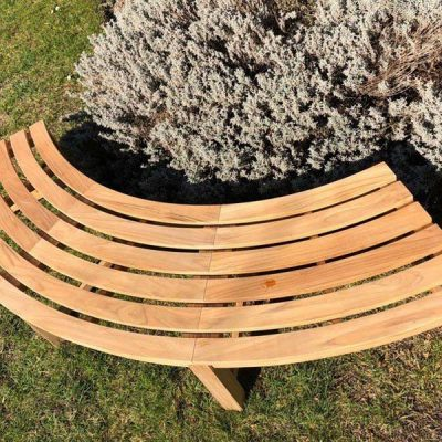 Agard Backless Curved Bench Sustainably Sourced Teak - Top down view