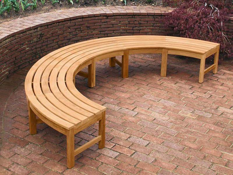 Backless Curved Bench Sustainably Sourced Teak - Agard