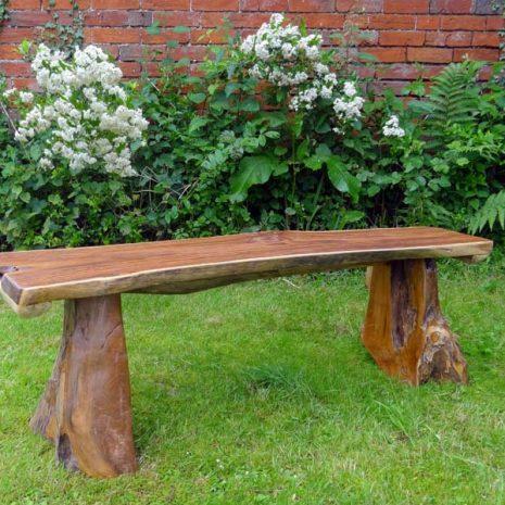 Bakulan 2 Seater Backless Teak Root Garden Bench 140cm 3