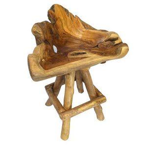 Bakulan Teak Root 1m High Swivel Bar Stool 4 Legs + Backrest