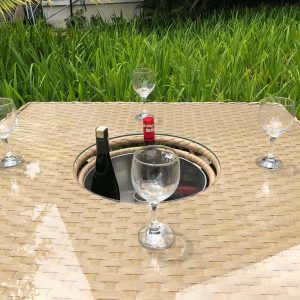 Bude Outdoor Rattan 4 Seater Garden Table Ice Bucket
