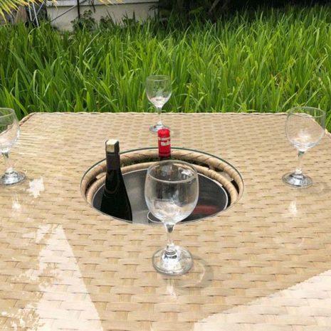 Bude Outdoor Rattan 4 Seater Garden Table Ice Bucket