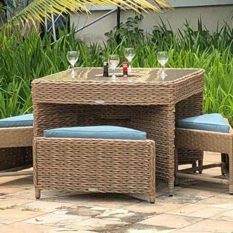 Bude Outdoor Rattan 4 Seater Garden Table Set