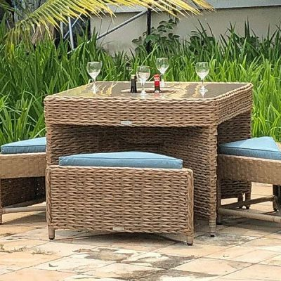 Bude Outdoor Rattan 4 Seater Garden Cube Table Set