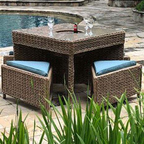 Bude Outdoor Rattan 4 Seater Garden Table Set Tuck Under Stools