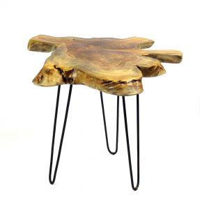 Raja Small Teak Root Side Table 3 Black Metal Legs 45cm photo 6