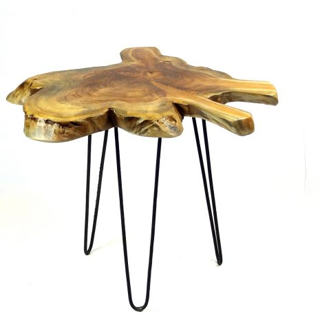 Raja Small Teak Root Side Table 3 Black Metal Legs 45cm photo 4