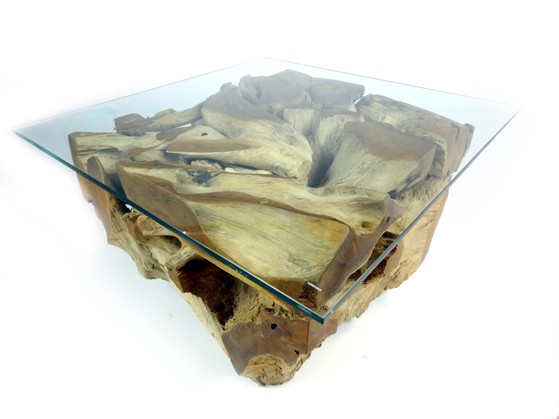 Small Teak Root Coffee Table 70cm Square Glass Top - Padang