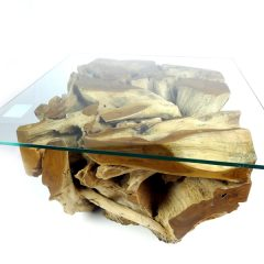 Padang Small Teak Root Coffee Table 70cm Square Glass Top