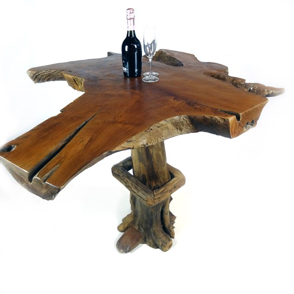 Teak Root High Bar Table 110cm Tall Solid Wood Top Bakulan