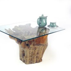 Dining Table 150cm Glass Top Round Teak Root Trunk H75cm
