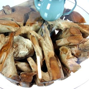 PJ_MAK_MJ280 Padang Small Round Teak Root Glass Top Coffee Table W70cm H45cm D70cm_001