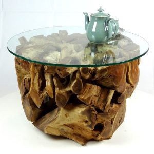 PJ_MAK_MJ280 Padang Small Round Teak Root Glass Top Coffee Table W70cm H45cm D70cm_004