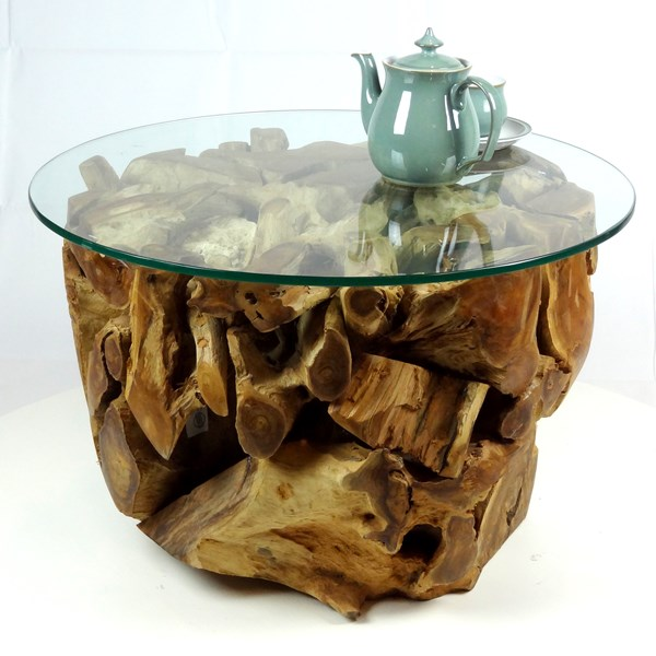 Phenomenal Padang Small Round Teak Root Coffee Table 70Cm Glass Top Download Free Architecture Designs Scobabritishbridgeorg