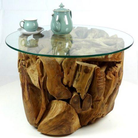 PJ_MAK_MJ280 Padang Small Round Teak Root Glass Top Coffee Table W70cm H45cm D70cm_006