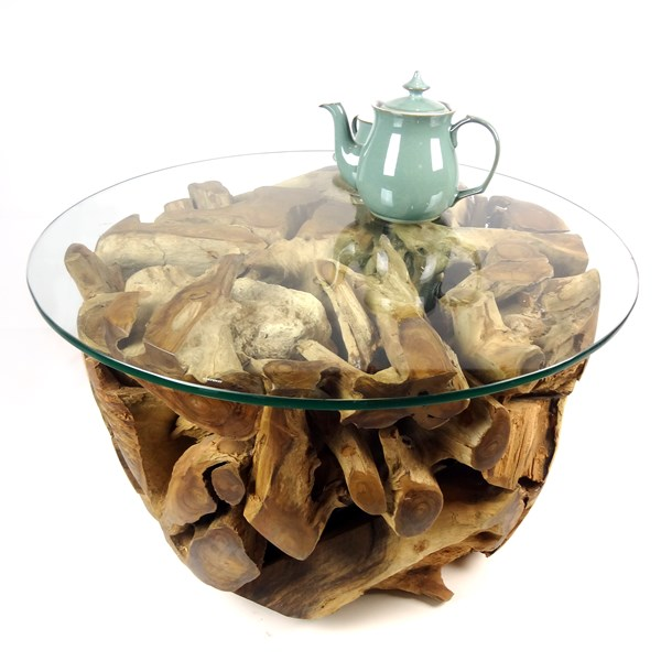 Small Round Teak Root Coffee Table 70cm Glass Top - Padang