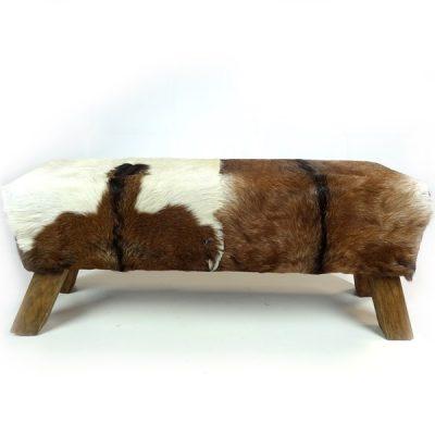 PJ_MAK_MJ386 2 Seater Teak Root Goat Skin Pommel Bench W100 H45 D32cm_005