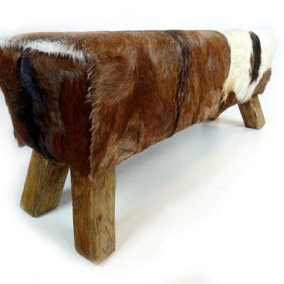 PJ_MAK_MJ386 2 Seater Teak Root Goat Skin Pommel Bench W100 H45 D32cm_008