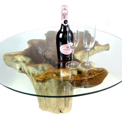 Batu Teak Root Glass Top Coffee Table