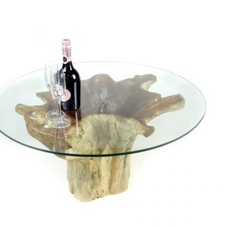 Batu Teak Root Glass Top Coffee Table
