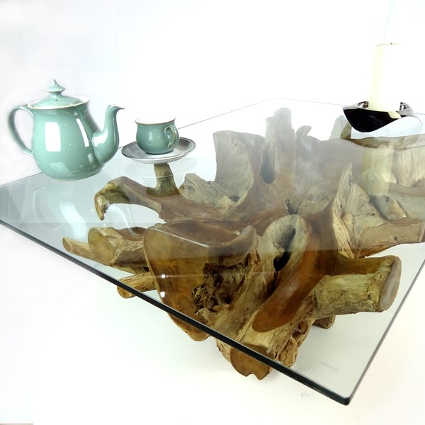 Large Rectangular Teak Root Trunk Coffee Table 100cm Glass ...