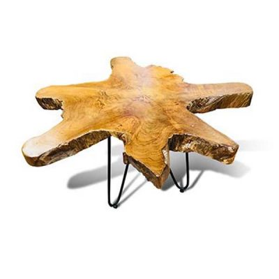 Raja 75cm Teak Root Coffee Table 3 Metal Legs - 45cm tall