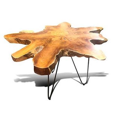 Raja 75cm Teak Root Side Table 3 Metal Legs - 60cm Tall