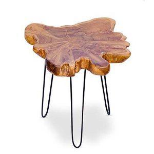 Raja Small Teak Root Side Table 3 Metal Legs 45cm