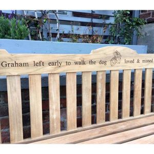 Rossetti Bench with laser engraved inscription image
