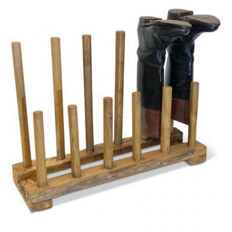 Teak Root Wellington Boot Rack Shoe Rack