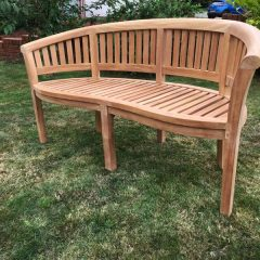 3 Seater Teak Half Moon Conversation Bench 160cm