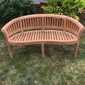 3 Seater Teak Half Moon Conversation Bench 160cm - PJ_RN_Peanut160