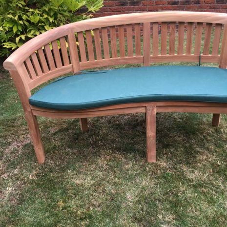 3 Seater Teak Peanut Conversation Bench 160cm With Cushion - End