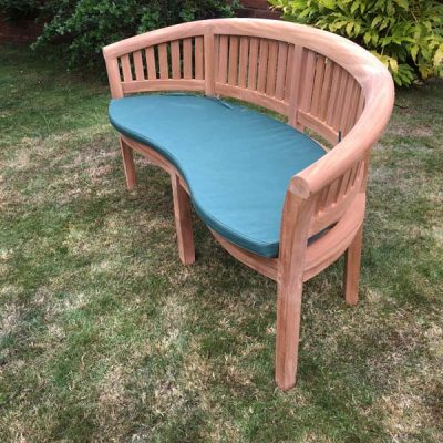 3 Seater Teak Peanut Conversation Bench 160cm With Cushion - Side View