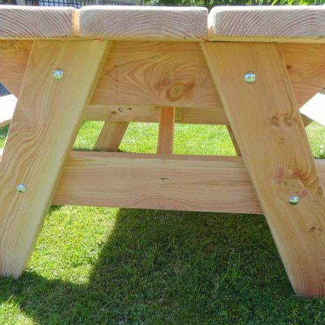Handmade in Wales Natural Softwood Picnic Table - End view