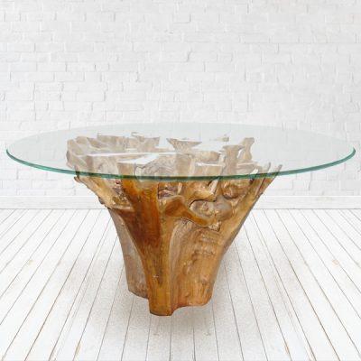 PJ_MAK_MJ201 Teak Root Trunk 150cm Glass Top Delux Dining Table