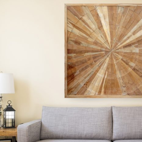 PJ_MAK_MJ373 Spiral Pattern Teak Wall Panel 100cm Square Cropped Lounge