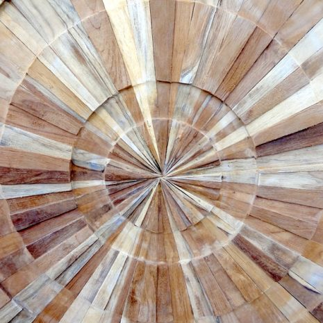 PJ_MAK_MJ373 Spiral Pattern Teak Wall Panel 100cm Square Closeup of Center