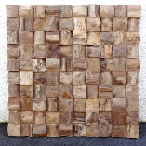 PJ_MAK_MB375 Block Pattern Teak Root Wall Hanging w100 h100cm