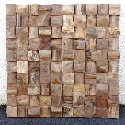 PJ_MAK_MB375 Block Pattern Teak Root Wall Hanging w100 h100cm