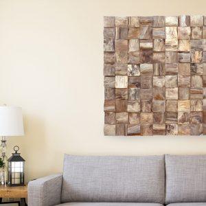 PJ_MAK_MB375 Block Pattern Teak Root Wall Hanging w100 h100cm - In Lounge Setting Cropped