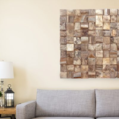 PJ_MAK_MB375 Block Pattern Teak Root Wall Hanging w100 h100cm - In Lounge Setting Cropped