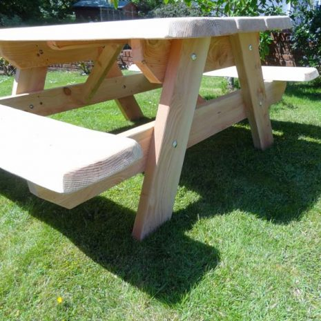 Welsh Made Picnic Table Bench End view