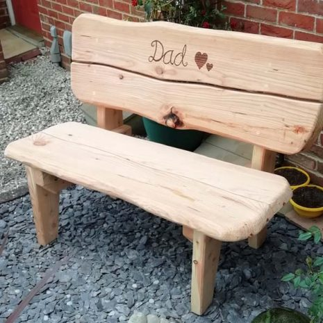 120cm bench with burned engraving