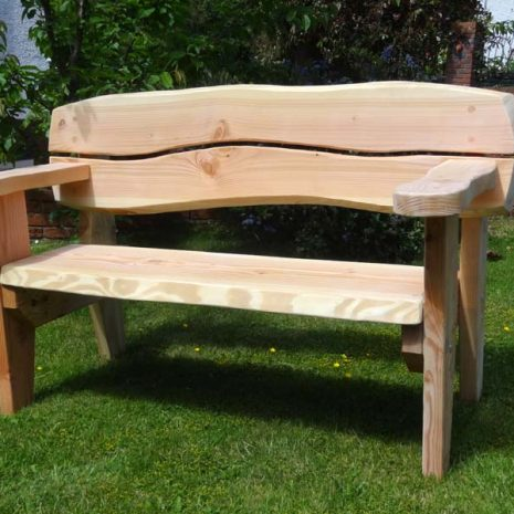 Handmade In Wales - 155cm Softwood Garden Bench 3 Seater - 3 quarter view