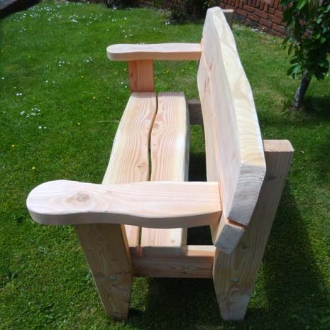 Handmade In Wales - Softwood Garden Bench - end view from above