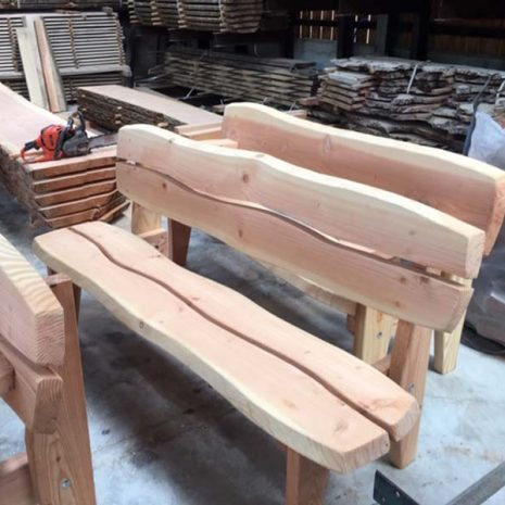 Handmade In Wales - Super Strong Armless Garden Bench in the workshop