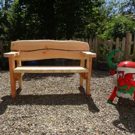 Handmade in Wales - 155cm Softwood Garden Bench 3 Seater Front View