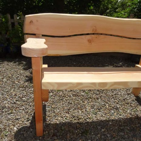 Handmade in Wales - Armrest and Bench Leg front view. Super Strong 5 Seater Bench