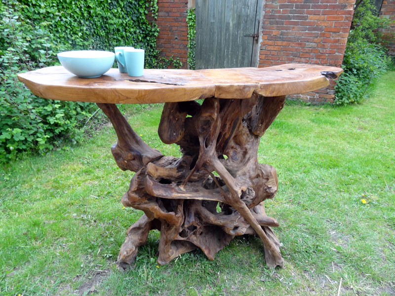 Large Teak Root Bar Table High Dining Table Serving Bar 4 ...